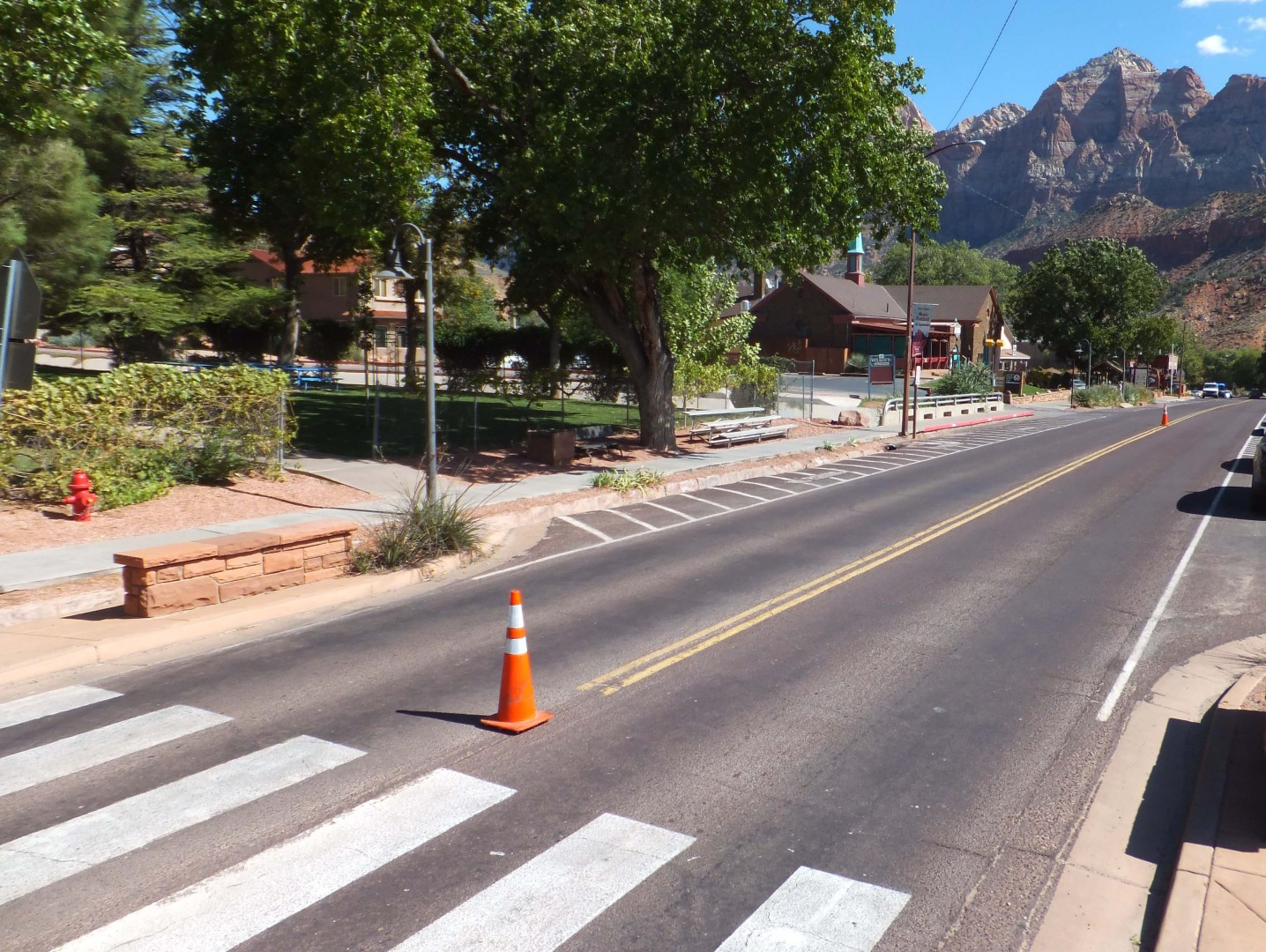 Zion Park Boulevard, empty, since government shutdown closes Zion National Park, impacts park's gateway town of Springdale, Utah, Oct. 2, 2013 | Photo by Dan Mabbutt, St. George News