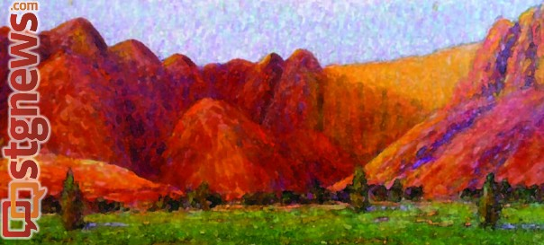 """""""Red Mountain – Kayenta,"""" by Gary Max Collins, courtesy of the Art in Kayenta Festival, St. George News"""