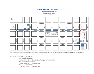 DSU's Homecoming Parade route, image courtesy of Dixie State University