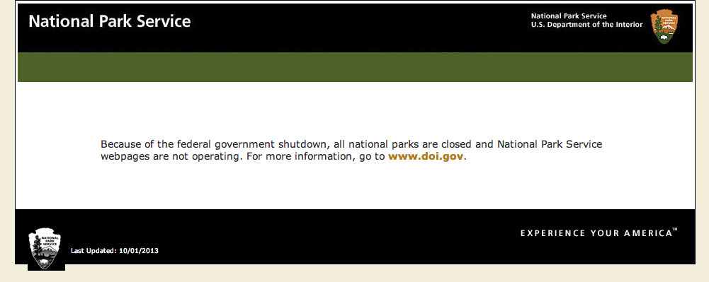 The message that greets those visiting the National Park Service websites, Oct. 3, 2013 | Image courtesy of NPS.gov