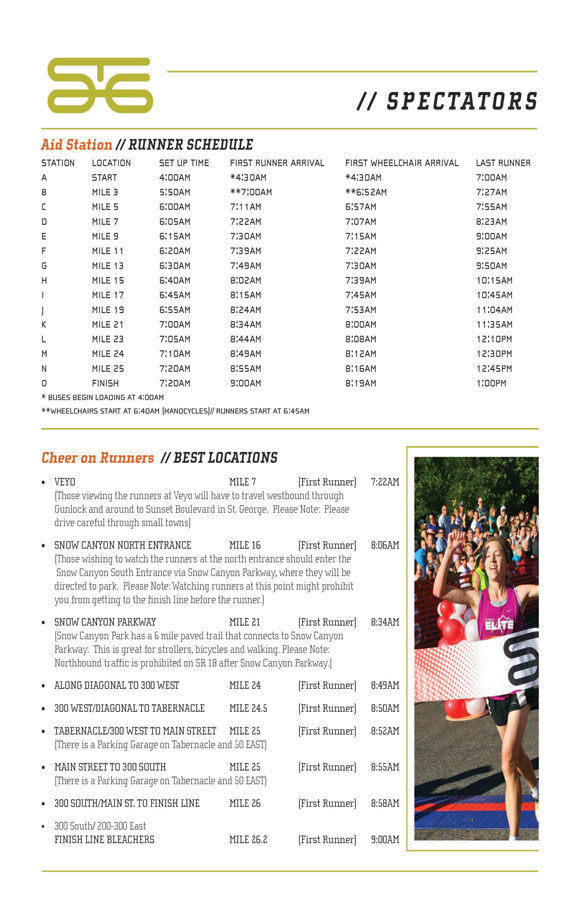 Spectator viewing locations for the St. George Marathon, St. George, Utah, Oct. 5, 2013 | PDF by the City of St. George
