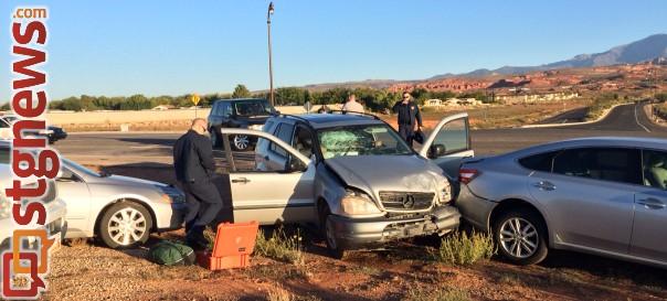 Vehicle accident at Telegraph, Washington Parkway, 8:20 a.m., Washington, Utah, Oct. 12, 2013 | Photo by Dawn Watts, St. George News