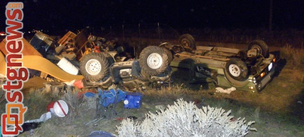 Rollover on northbound I-15 leaves one dead, two injured, Cedar City, Utah, Oct. 20, 2013 | Photo courtesy of the Utah Highway Patrol, St. George News.