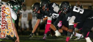 The PV defensive line will be really tested vs. Juan Diego's crisp running game. File photo from Payson at Pine View, St. George, Utah, Oct. 16, 2013 | Photo by Robert Hoppie, St. George News