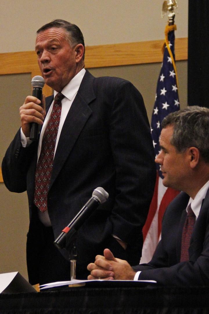 Mayor  and candidate Dan McArthur, St. George Mayoral Candidates Debate, Gardner Center Ballroom, Dixie State University, St. George, Utah, Oct. 1, 2013 | Photo by John Teas, St. George News