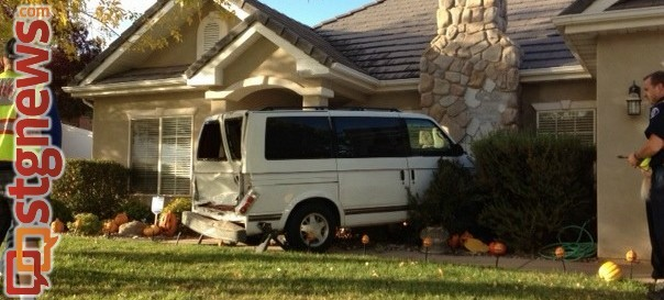 Van crashes into home, St. George, Utah, Oct. 28, 2013 | Photo by Michael Flynn, St. George News