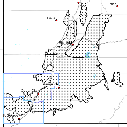 Dots denote affected area. Radar time 9:00 a.m. Southern Utah, Oct. 9, 2013   Image courtesy of National Weather Service