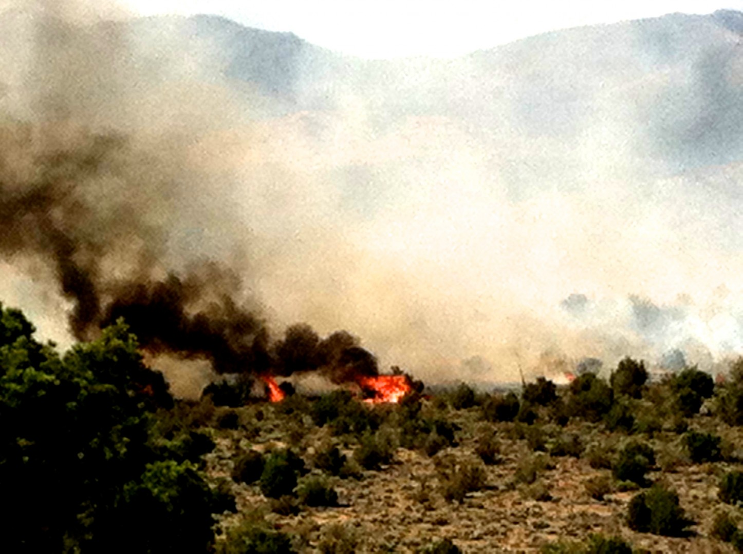 Smoke fills the air from a wildfire just west of Highway 18, Brookside, Utah, July 25, 2013 | Photo courtesy of Janie McDade Hawley, St. George News