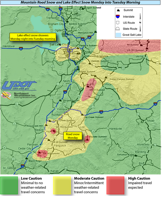 Utah Department of Transportaion alert areas, map time 12 a.m., Utah, Nov. 4, 2013 | Image courtesy of UDOT, St. George News | Click to enlarge