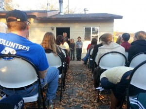 Candice Nay speaks in her new backyard as part of Habitat for Humanity's ceremony for her family, Washington City, Utah, Nov. 26, 2013 | Photo by Drew Allred, St. George News