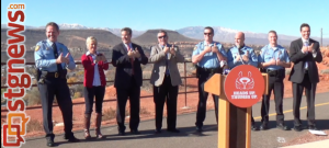 St. George city officials hold a press conference in front of the Dixie Rock on Red Hills Parkway to unveil a campaign to educate people on the dangers of distracted driving. November 26, 2013 | Photo by Michael Flynn, St. George News