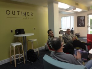 Ever Gonzalez, Brad Campbell, and Jeff Sherman at Outlier Labs discussing the challenges they faced when starting their businesses. Nov. 8, 2013 | Photo by Michael Flynn, St. George News