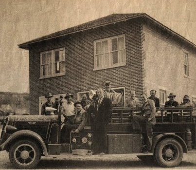 The original 1936 Studebaker fire engine outside SGFD Station #2, St. George, Utah, undated | Photo courtesy of the City of St. George