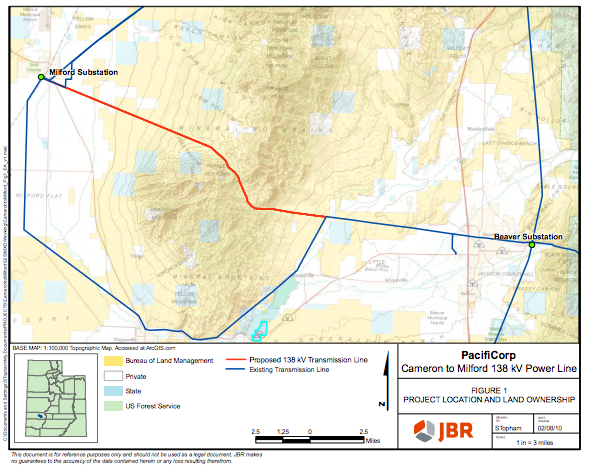 """BLM 138-kV proposed Cameron to Milford Transmission Line Project location map 