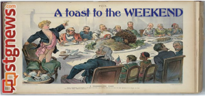 """A Thanksgiving Toast"" by Udo J. Keppler, 1898 