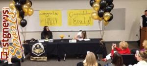Desert Hills basketball players Haley Bodnar (left) and Emily Seifert sign letters of intent to play college basketball Wednesday morning, St. George, Utah, Nov. 13, 2013 | Photo courtesy ESPN Radio 106.1 FM