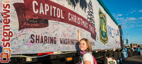 Kylee Hafen in signing her name on the trailor carrying the 2013 Capitol Christmas Tree bound for  Washington, D.C., St. George, Utah, Nov. 13, 2013 | Photo by Dave Amodt, St. George News