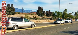 Minivan comes to rest after flying off freeway on Red Cliffs Drive, St. George, Utah, Nov. 7, 2013 | Photo by Drew Allred, St. George News