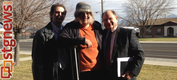 David Musselman, center, transformed into a homeless man as part of an object lesson for the LDS Church ward he presides over as bishop, Taylorsville, Utah, November 2014 | Photo courtesy of David Musselman, St. George News