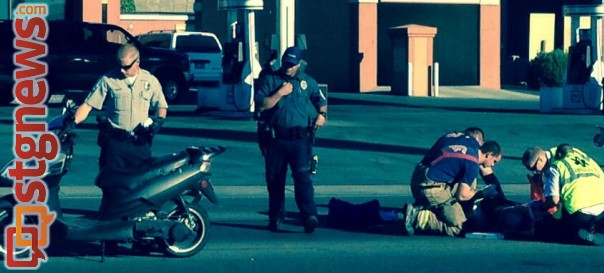 The driver of a scooter was sent to the hospital after she crashed avoiding a truck near the Green Springs-Telegraph intersection, Washington City, Utah, Nov. 11, 2013 | Photo by A. Kimberly Scott, St. George News