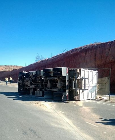A tipped dump truck on Red Hills Drive at the Bluff Street intersection, St. George, Utah, Nov. 1, 2013 | Photo courtesy of the St. George Police Department, St. George News