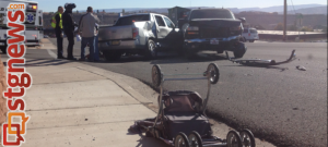 Two-vehicle collision on Red Hills Parkway, St. George, Utah, Nov. 8, 2013 | Photo by Michael Flynn, St. George News