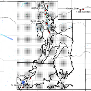 Dots denote areas affected by weather advisory at 7:45 a.m. Utah, Nov. 14, 2013 | Image courtesy of National Weather Service