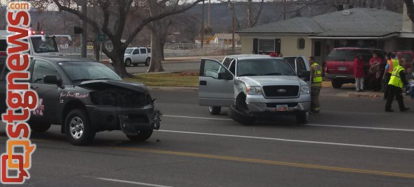 Collision at 100 South and 400 East, said by witnesses to have been caused by one of the trucks running a red light, St. George, Utah, Dec. 28, 2013 | Photo by Mori Kessler, St. George News