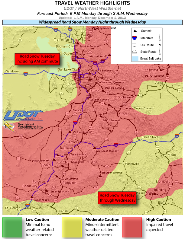 Travel weather highlights at 1 a.m. across Utah. Red areas call for high caution, yellow for moderate caution and green for low caution. Utah, Dec. 2, 2013 | Image courtesy of UDOT, St. George News