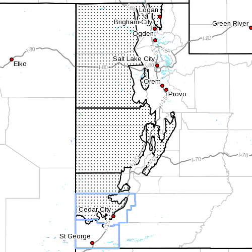 Dots denote area subject to Winter Storm Warning at 4:05 p.m., Utah, Dec. 6, 2013 | Image courtesy of National Weather Service, St. George News | Click on image to enlarge