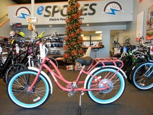 A cruiser style e-bike Inside eSpokes e-bike shop, St. George, Utah | Photo by Drew Allred, St. George News