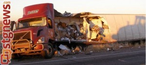 A 29-year-old Arizona man was killed after his semitrailer collided with another semitrailer head-on on SR-191 near mile post 10, early Wednesday morning, San Juan County, Utah, Dec. 11, 2013 | Photo courtesy of the Utah Highway Patrol, St. George News