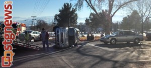 A three-car accident blocked part of the intersection of 700 South and Tabernacle after vehicles collided on a left turn, St. George, Utah, Dec. 13, 2013 | Photo by Mori Kessler, St. George News