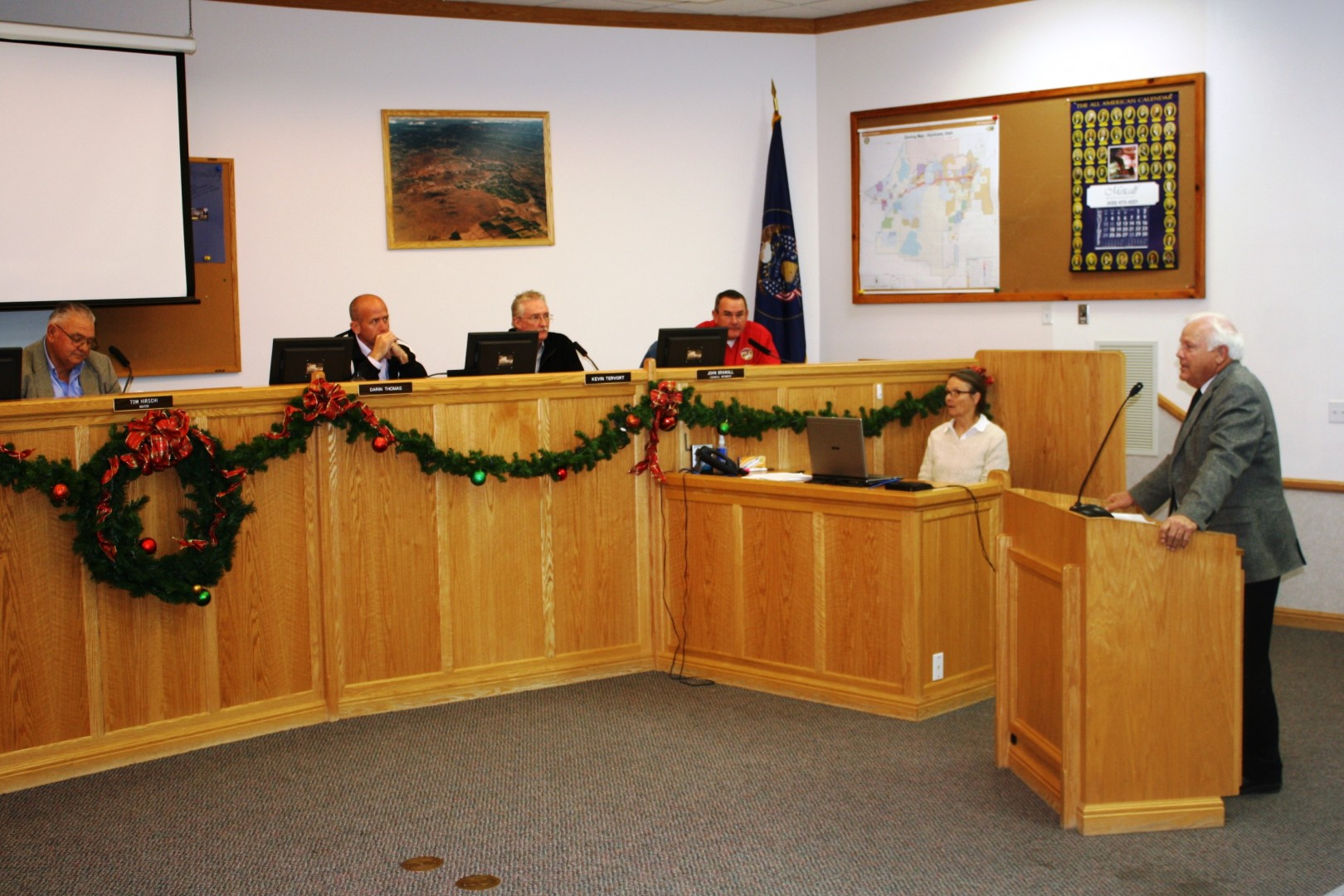 Washington County Commissioner Dennis Drake discusses a proposed 3 percent tax hike on gas with the Hurricane City Council, Hurricane, Utah, Dec. 5, 2013 | Photo by Reuben Wadsworth, St. George News