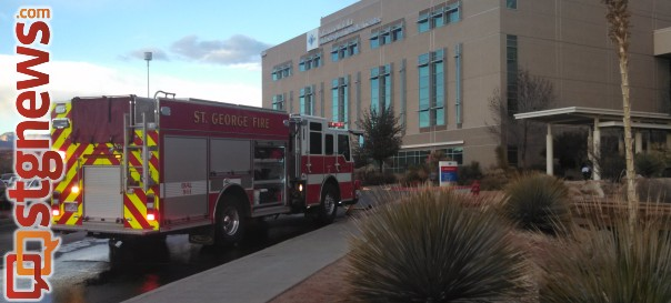 Fire crews responded to a fire in a patient's room at Dixie Regional Medical Center in what was quickly contained and put out, St. George, Utah, Dec. 28, 2013 | Photo by Mori Kessler, St. George News