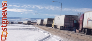 Interstate closure forced semi trucks to line up off the Southern Parkway exit, Washington County, Utah, Dec. 8, 2013 | Photo by Scott Heinecke, St. George News