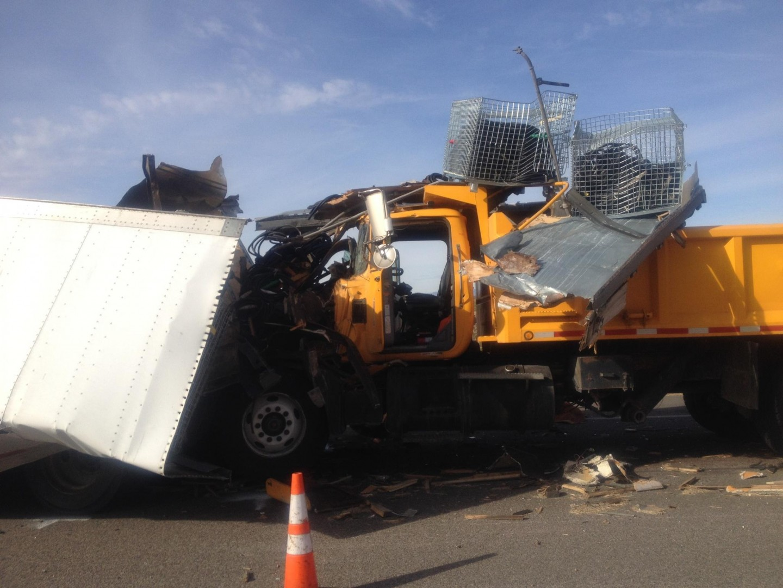 Collision between a semitrailer and a dumptruck around 12:35 p.m., 1 mile south of Virgin River Gorge, Arizona Strip, Ariz., Dec. 17, 2013 | Photo courtesy of Arizona Highway Patrol, St. George News
