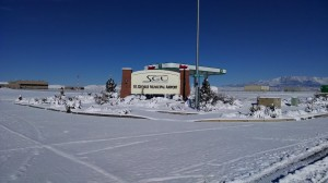 St. George Municipal Airport under blanket of snow from heavy storm Dec. 7, 2013, St. George, Utah, Dec. 8, 2013 | Photo by and courtesy of Brad Kitchen, St. George Municipal Airport, St. George News
