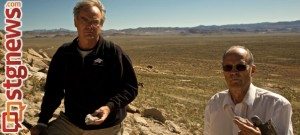 BYU Professor Eric Christiansen (left) and professor emeritus Myron Best explore the discovery site near Wah Wah Springs, Millard County, Utah, Dec. 9, 2013 | Photo courtesy of BYU News
