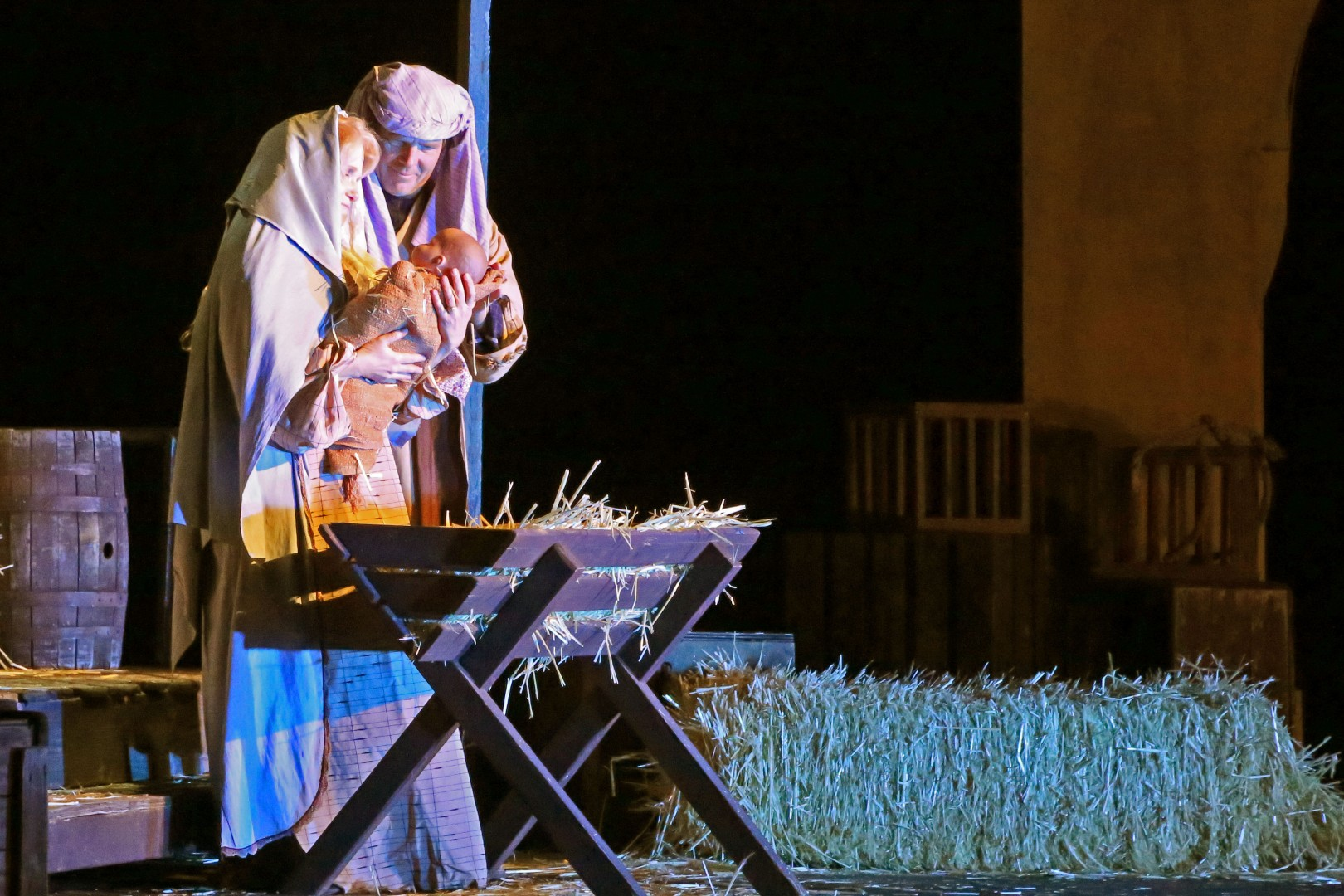 Mary and Joseph wonder at the Christ child in the Live Nativity. Christmas in the Canyon, Tuacahn Amphitheatre, Ivins, Utah, Nov 29, 2013 | Photo by John Teas, St. George