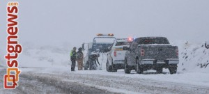Slide-off at mile post 9 on state Route 18, Washington County, Utah, Dec. 7, 2013 | Photo by John Teas, St. George News
