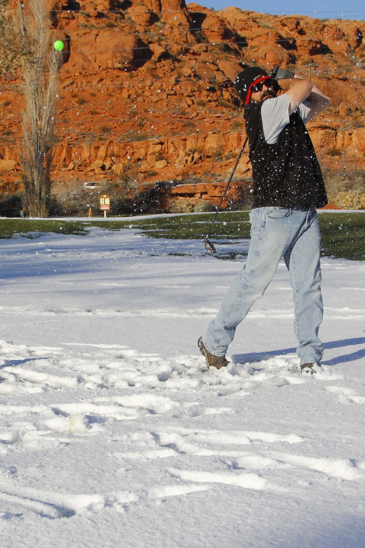 """I can't drag race in the snow so in the off-season we tried golf,"" Jason Hall said, golfing at Dixie Red Hills Golf Club, St. George, Utah, Dec. 12, 2013 