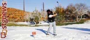 Jason Hill tees off at Dixie Red Hills Golf Club, St. George, Utah, Dec. 12, 2013 | Photo by John Teas, St. George News