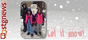 L-R front: Mason, Kaylee and Melaina Brinkerhoff. Rear: Best snowman ever. St. George, Utah, Dec. 7, 2013 | Photo by Shane Brinkerhoff, St. George News