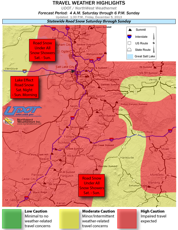 Statewide road weather alert map, 1:30 p.m., Utah, Dec. 6, 2013 | Image courtesy of UDOT, St. George News | Click on image to enlarge