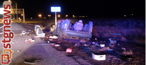 Rollover accident on I-15 near the Millard-Beaver county line at mile post 132, results in critical injuries to driver and lesser injuries to five family members. Beaver, Utah, Nov. 27, 2013 | Photo courtesy of Utah Highway Patrol, St. George News