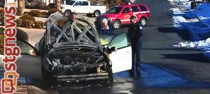 Vehicle fire on Windsor Drive, St. George, Utah, Dec. 16, 2013 | Photo Mori Kessler, St. George News