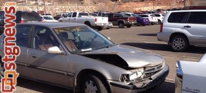 Damaged Honda resulting from rear-end accident on River Road, St. George, UT, Dec. 17, 2013 | Photo by Scott Heinecke, St. George News