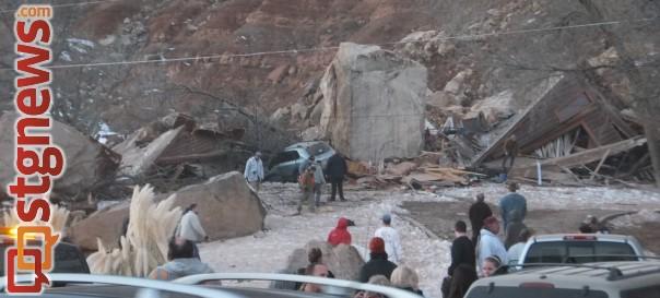 Rockslide in Rockville destroys a home, Rockville, Utah, Dec. 12, 2013 | Photo by Dan Mabbutt, St, George News