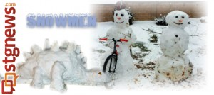STGnews Snowman Gallery submission, great snowfall, St. George, Utah, Dec. 7, 2013   Photo submitted by Alpine Water Tech - stegosaurus by Aleia Anderson, and Paul Jewkes, cycling snowman, St. George News